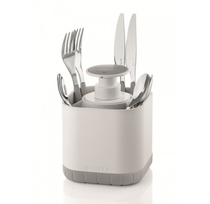 Guzzini Cutlery drainer with removable soap, grey