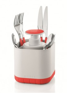 Guzzini Cutlery drainer with removable soap, red