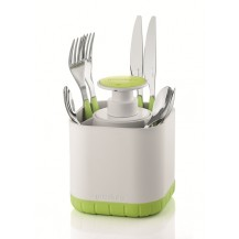 Guzzini Cutlery drainer with removable soap, green